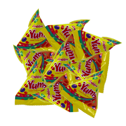 Yums Fruity Chews Sweets - Candy Pyramid Pouches Rose Confectionery 7.2g